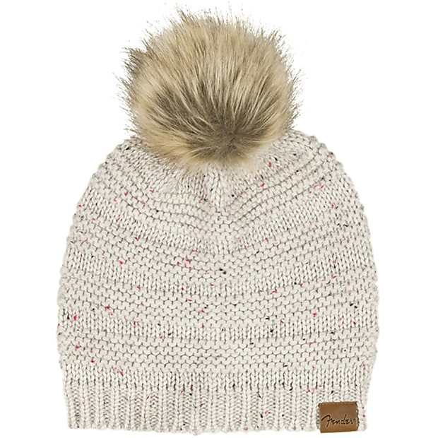 Fender Leather Patch Pom Pom Beanie Cap Hat One Size Fits  2e64969d048c