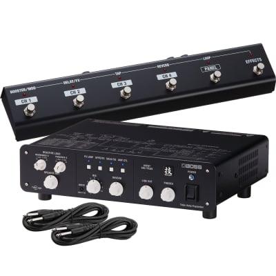 Boss WAZA Tube Amp Expander, Boss GA-FC GA Foot Controller, (2) 1/4 Cables Bundle