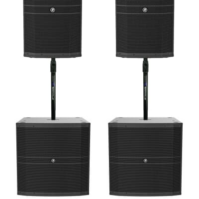 """2) Mackie DRM212-P 1600w 12"""" DJ PA Speakers+2) 18"""" Passive Subs+Air Assist Mount"""