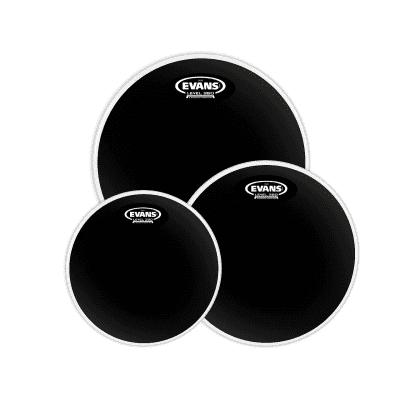 "Evans ETP-CHR-F Black Chrome (10/12/14"") Fusion Tom Drum Head Pack"