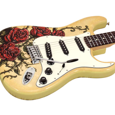 2 FENDER SPECIAL EDITION DAVID LOZEAU ART STRATOCASTER ROSE TATTOO for sale