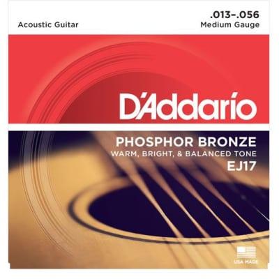 D'Addario EJ17 Phosphor Bronze Strings, Medium, 13-56