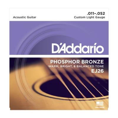 D'Addario EJ26 11-52 Phosphor Bronze Custom Light Acoustic Guitar Strings
