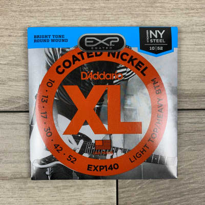 D'Addario EXP140 Coated Nickel Electric Guitar Strings, 10-52, Light Top/Heavy Bottom