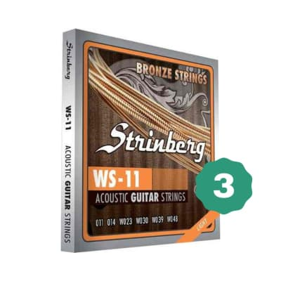New Strinberg WS-11 Light Bronze Acoustic Guitar Strings (3-PACK)