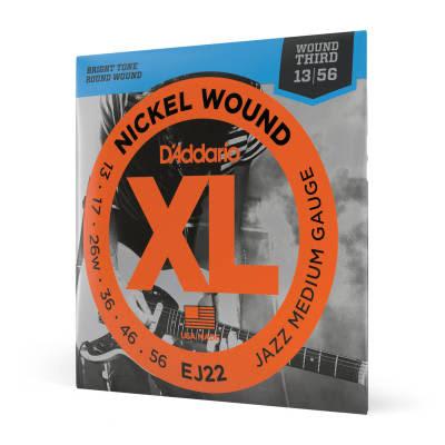 D'Addario EJ22 Nickel Wound Jazz Medium Electric Guitar Strings, 13-56 Nickel