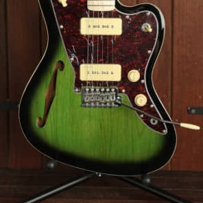 Revelation RJT-TL Offset Thinline Semi-Hollow Electric Guitar Green Burst for sale