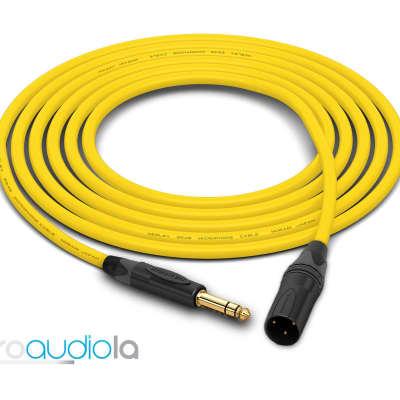 "Mogami 2549 Cable | Neutrik Gold 1/4"" TRS to XLR-Male | Yellow 8 Feet | 8 Ft. | 8'"