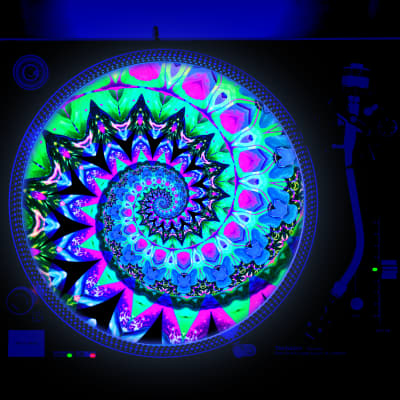 Her Tie Dye - DJ Turntable Slipmat 12 inch LP Vinyl Record Player Glow Series (glows under black light)