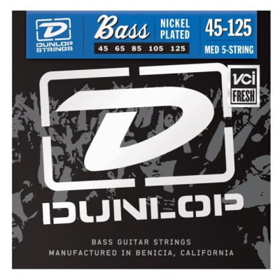 Dunlop DBN45125 Medium Nickel Plated Steel 5-String Electric Bass Strings