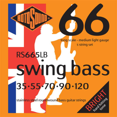 Rotosound RS665LB Roundwound 5 String Long Scale Bass Strings Medium Lt Gauge 35-120 Stainless Steel