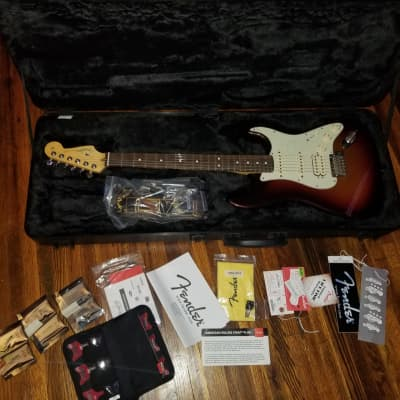 Fender American Deluxe Strat Plus Stratocaster 12 Personality Cards 2013 Metallic Sunburst Plastic Still On The Pickguard All Original Oem for sale