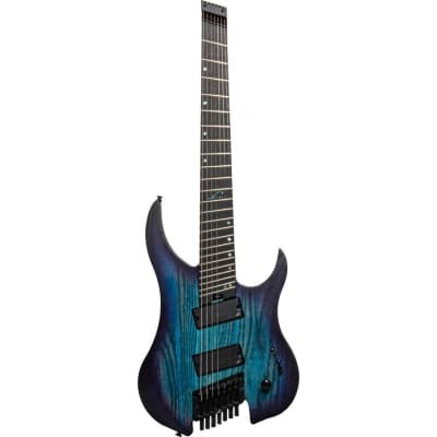 Legator Ghost G7FP 7-String Multi-Scale Headless Guitar, Ebony, Cali Cobalt Blue