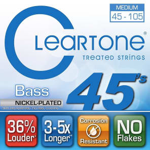 Cleartone 6445 No Feel Coated Bass Strings - Medium (45-105)