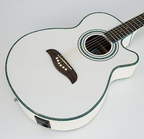 Acoustic Electric Guitars Musical Instruments & Gear Oscar Schmidt Og10cewhlh Left-handed White Concert Size Acoustic Electric Guitar
