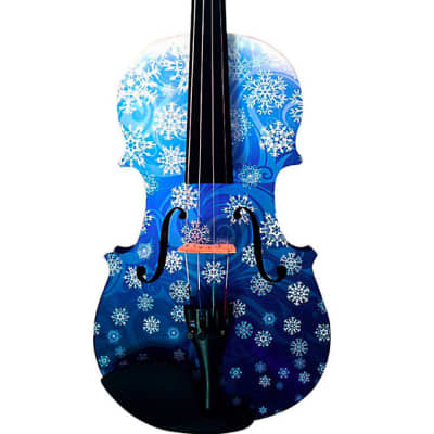 Snowflake White Glitter Violin Outfit - 4/4 / Pearl fine tuners / Crystal detail