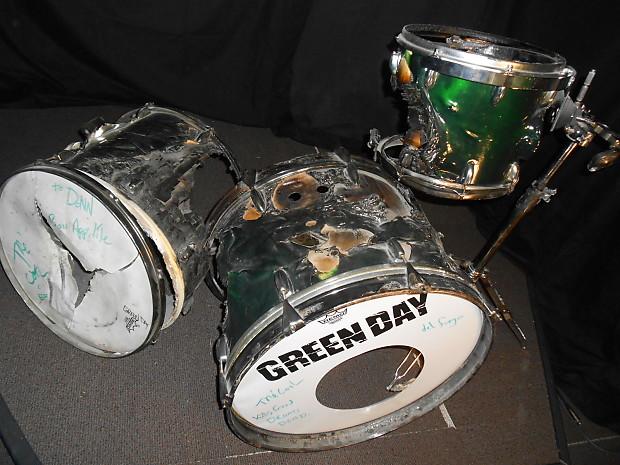 Tre Cool S Greenday Slingerland Drum Set Burnt Signed