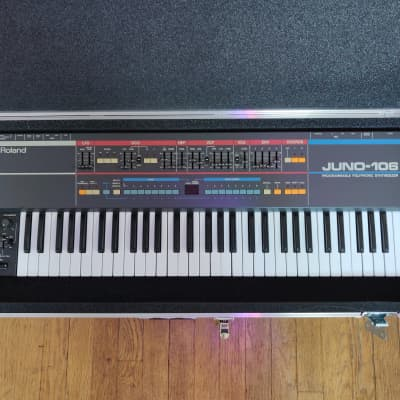 Roland Juno-106 with Analogue Renaissance voice chips and hard shell case