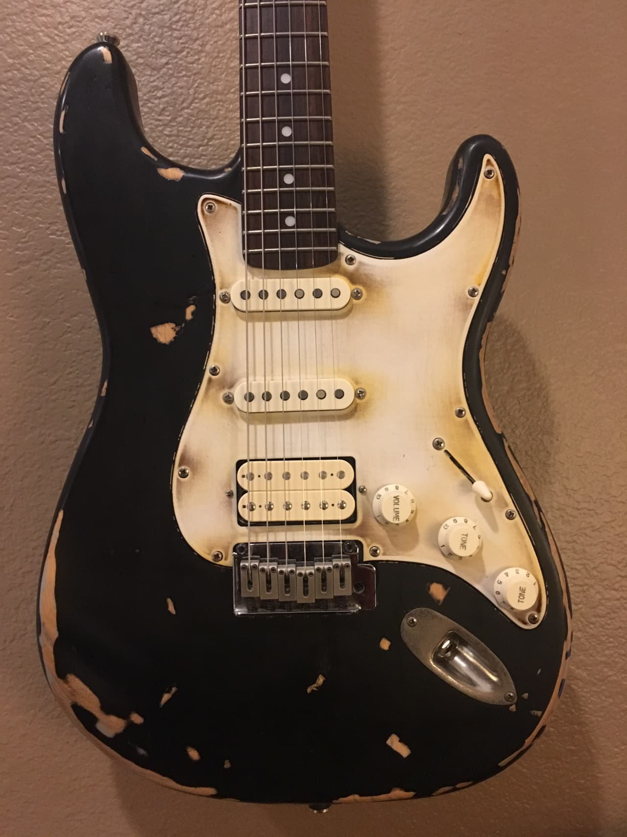 Auto Body Shops >> Squier Strat Bare Knuckles Pickups Stratocaster Black Relic | Reverb
