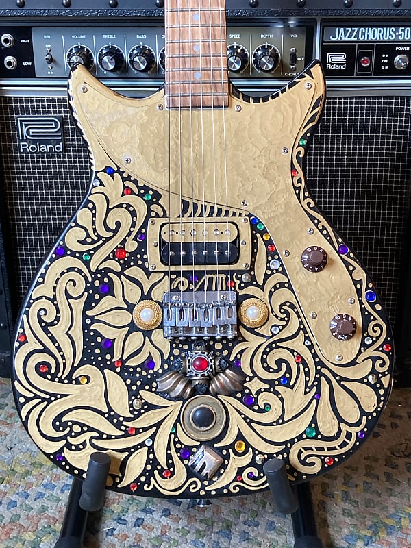 First Act Custom Refinish Bedazzled and Bejeweled Black/Gold/Rhinestone Hand Painted
