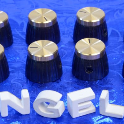 Eight Gold Front Brown Vintage British Style Amplifier Set Screw Knobs For Marshall