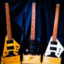 BootLegger Guitar Spade Black Headless With Stiletto  Case & Flask