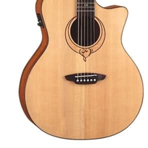 Luna Heartsong Series Grand Concert Cutaway Acoustic-Electric Guitar - Natural, SONG GC for sale