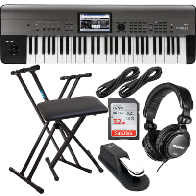 Korg Krome EX 61 – Music Workstation, Keyboard Stand, Bench, Sustain Pedal, (2) 1/4 Cable, SD Card 32GB Bundle