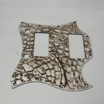 made in USA white gator alligator wood pickguard for Gibson SG