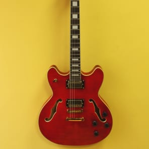 Luna Athena 501 Semi Hollow-body Trans Red for sale