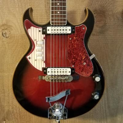 Eko Florentine Vintage Hollow Body Electric Guitar Red Burst Made in Italy c. 1960s