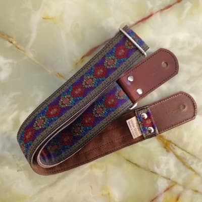Guitar Strap Bass Suede Woven hippie Replica Purple Embroidered Custom Options Pardo
