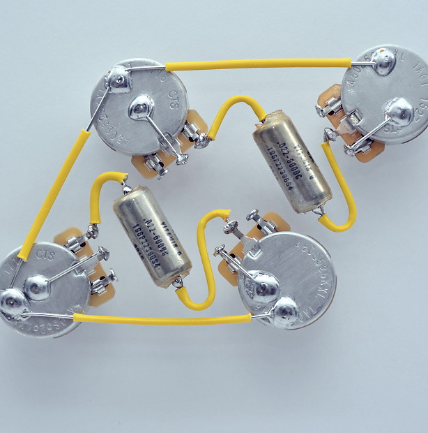 Les Paul ® Type Wiring Harness by JEL - 525k CTS Long Shaft - .022 Wiring Harness Types on