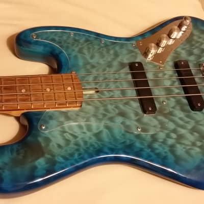 Low End LEJ-4 blue/aqua maple quilt top for sale