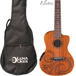 Luna Mahogany Series Tattoo Concert Acoustic-Electric Ukulele for sale