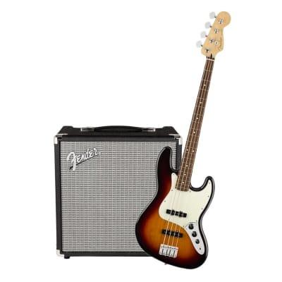 Fender Player Jazz Bass 3 Tone Sunburst Pau Ferro & Fender Rumble 25 Bundle for sale