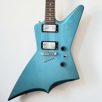 Rare 2001 Epiphone Explorer Evolution Limited Edition Metallic Light Blue w/ Hard Shell Case for sale