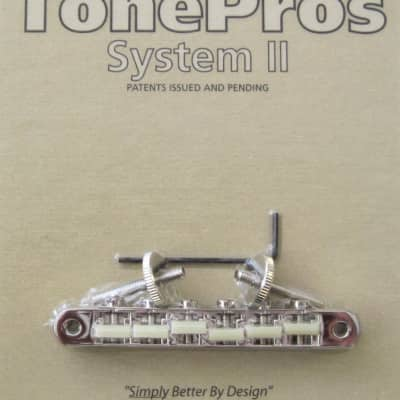 "TonePros AVR2G-N Tuneomatic Bridge with G Formula Nylon ""66"" Saddles Nickel"