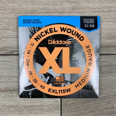 D'Addario EXL115W Nickel Wound Electric Guitar Strings, 11-49, (Wound Third) Medium