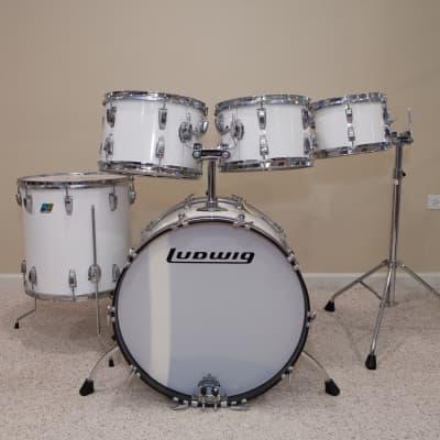 Ludwig Vintage Custom Drum Kit, 6-ply Maple/Poplar, White Cortex, B/O Badges