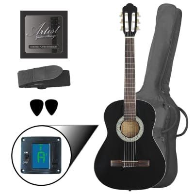 Artist CL34BK 3/4 Size Classical Guitar Pack, Nylon String - Black for sale