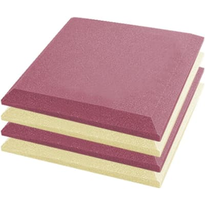 Arrowzoom 4 pcs Pearl White & Purple Flat Bevel Tile Acoustic Foam 19.6 x 19.6 x 1.9 inches KK1039