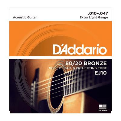 D'Addario EJ10 Extra Light 80/20 Bronze Acoustic Guitar Strings 10-47