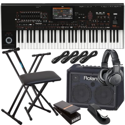 Korg Pa4X-61 61-key Professional Arranger, Roland KC220, Keyboard Stand, Bench, Korg EXP2 Pedal, Sustain Pedal, (4) 1/4 Cables, AT ATH-M20X Bundle