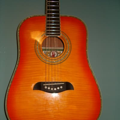 Oscar Schmidt OG-1 FYS 3/4 Dreadnaught size Student or Travel Acoustic Guitar 2013 figured top - Bri for sale