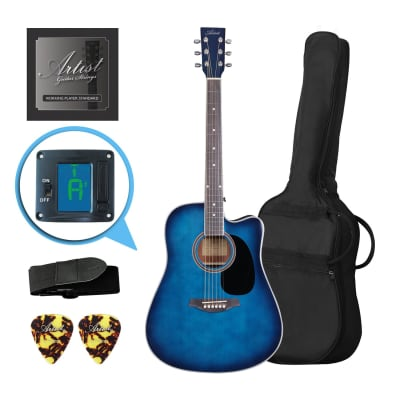 Artist LSPCTB Blue Beginner Acoustic Guitar Pack With Cutaway for sale