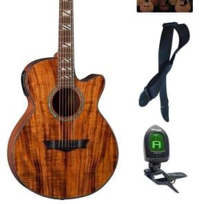 Dean Koa Performer Natural Acoustic/Electric Guitar, DMT Preamp w/ Tuner, PE KOA  PACK Bundle for sale