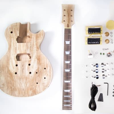 DIY Electric Guitar Kit  Singlecut Spalted Maple Kit Build Your Own Guitar - Body and Neck Only