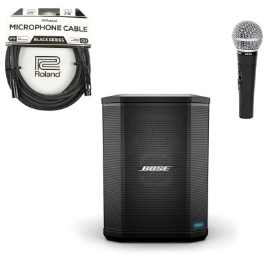 Bose S1 Pro Multi-Position PA System w/ Included Battery Pack, SM58S and Roland XLR Cable Bundle