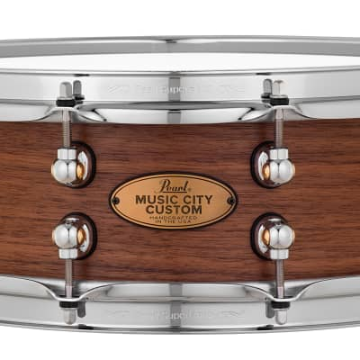 Pearl Music City Custom 14x5 Walnut Solid Shell Snare Hand Rubbed Nashville Natural Finish, No Inlay